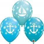 Qualatex 11 Inch Assorted Nautical Sailboat & Anchor Balloon ~ 10pcs