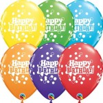 Qualatex 11 Inch Bright Rainbow Assorted Bday Confetti Dots ~ 10pcs