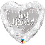 Qualatex 18 inch Just Married Hearts Silver Heart