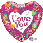 Qualatex 18 Inch Holographic Love You Vibrant Hearts