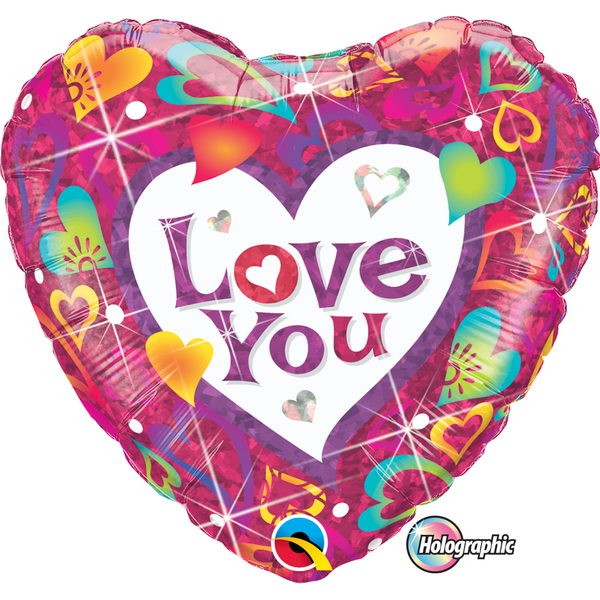 Love & Affection - Qualatex 18 Inch Holographic Love You Vibrant Hearts