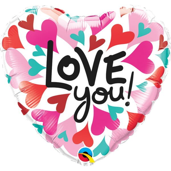 Love & Affection - Qualatex 18 inch Love You Converging Hearts