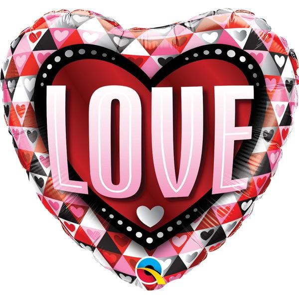 Love & Affection - Qualatex 18 Inch LOVE Triangles Balloon