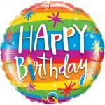 Qualatex 18 Inch Birthday Rainbow Stripes