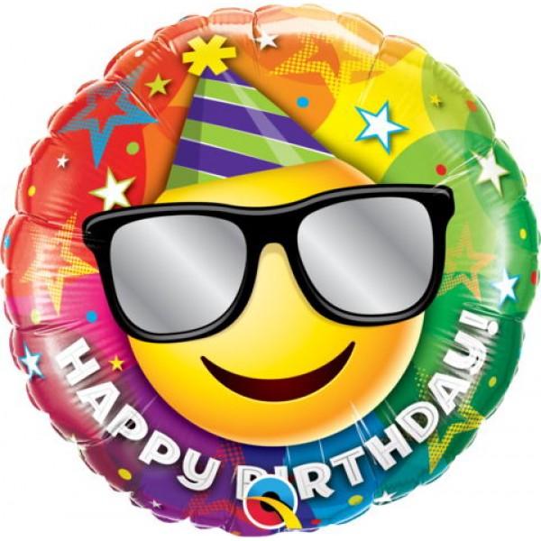 Birthday Balloons - Qualatex 18 Inch Birthday Smiley Foil Balloon
