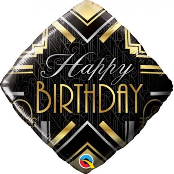 Birthday Balloons - Qualatex 18 Inch diamond Birthday Art Deco