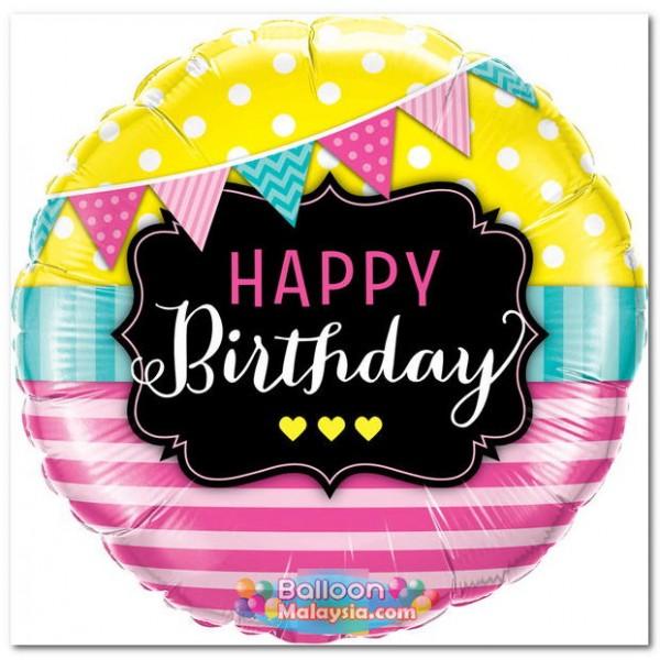 Birthday Balloons - Qualatex 18 Inch Birthday Pennants & Pink Stripes