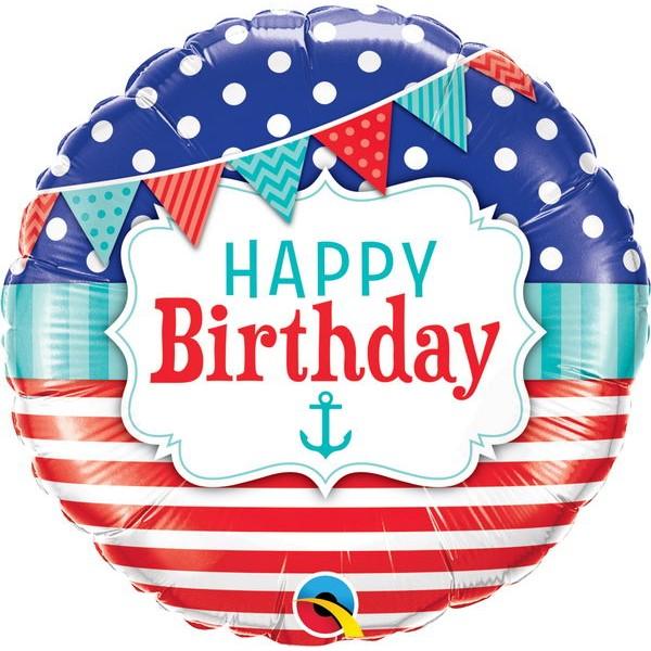 Birthday Balloons - Qualatex 18 Inch Birthday Nautical & Pennants