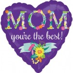Anagram 17 Inch Floral Mom Heart Shape