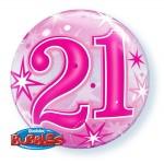"Qualatex 22"" Inch Pink Starburst Sparkle 21st Bubble Balloon"