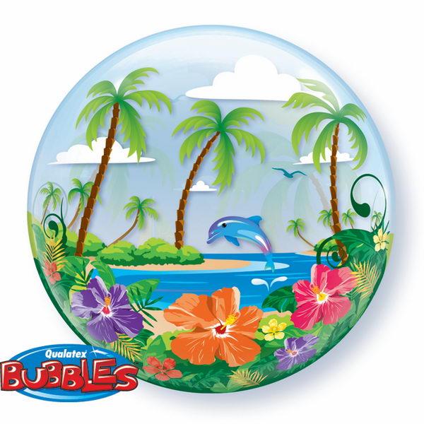 Single Bubbles - Qualatex 22 Inch Tropical Getaway Bubbles Balloon