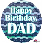 Anagram 18 Inch Watercolor Waves HBD Dad Balloon