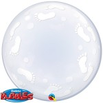 "Qualatex 24"" Inch Baby Footprints Bubbles Balloon"