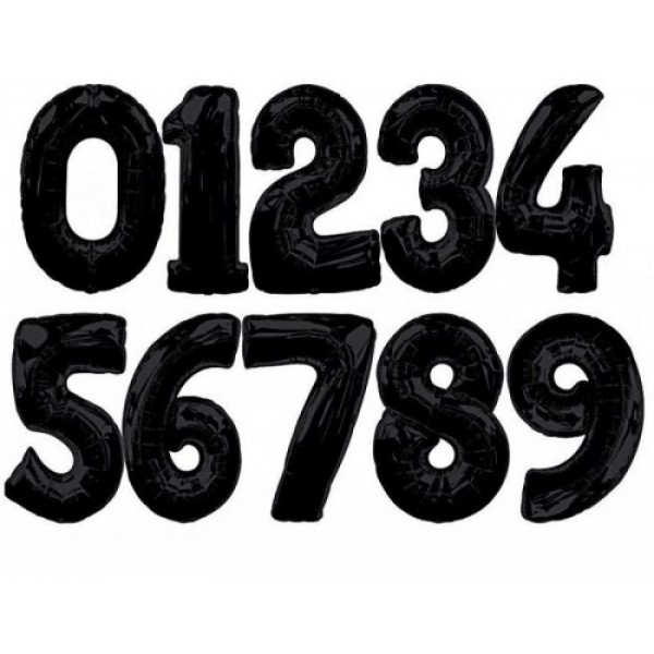 Numbers Balloons - Qualatex 34 Inch Black Number Balloons 0-9