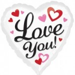 "Anagram 17"" Inch Love You Black and White With Hearts"