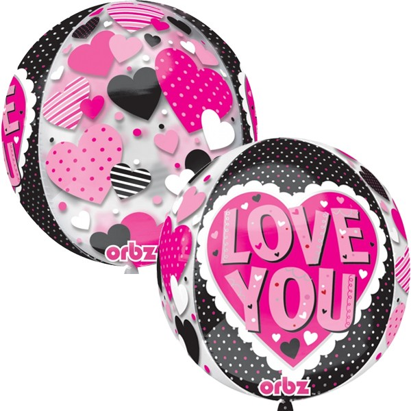 Love & Affection - Anagram 16 Inch Orbz Love You Black And Pink