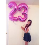 Numbers Balloons - Qualatex 34 Inch Metallic Magenta Number Balloons 0-9