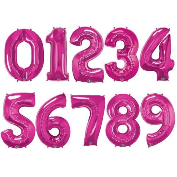 Qualatex 34 Inch Metallic Magenta Number Balloons 0 9