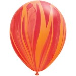 Qualatex 11 inch Red Orange Rainbow Superagate Latex Balloon ~ 10pcs