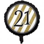 CTI 17 Inch 21st Black and Gold Balloon