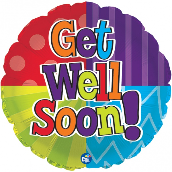 Get Well Balloons - CTI 17 Inch Get Well Soon Dots and Stripes