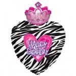 CTI 29 Inch Happy Birthday Princess Zebra Crown with Gems