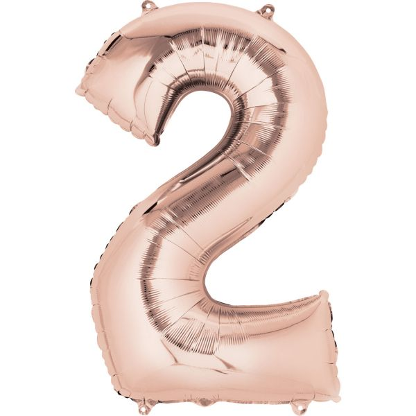 Numbers Balloons - Mytex 30 Inch Jumbo Number 2 Rose Gold Balloon