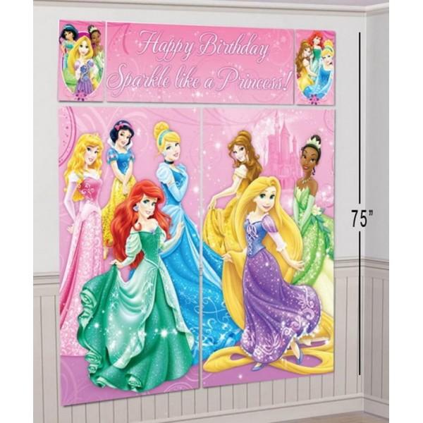 Scene Setter - Amscan Disney Princess Happy Birthday Scene Setter 6ft