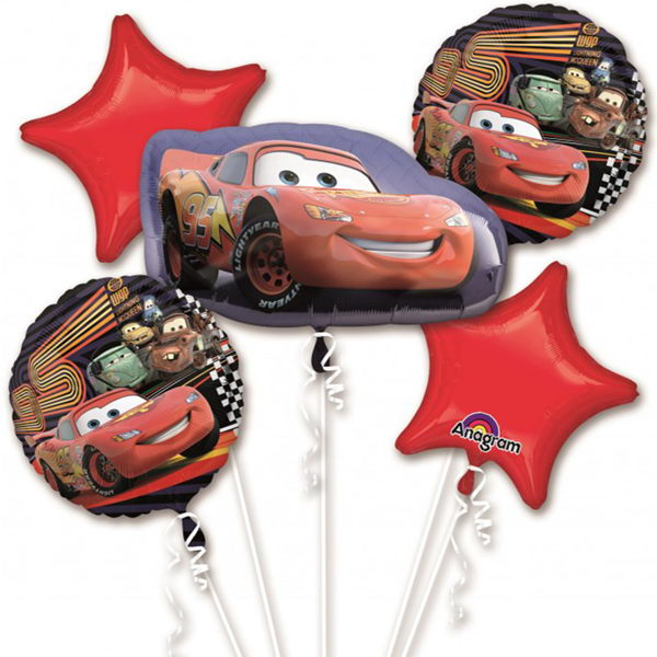 Balloon Bouquet Pack - Anagram Disney Cars McQueen Balloon Cluster Bouquet 5pcs