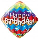 Qualatex 18 Inch Happy Birthday Zig Zags and Starburst Diamond