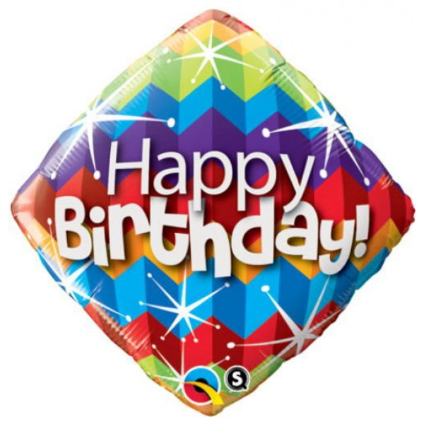 Birthday Balloons - Qualatex 18 Inch Happy Birthday Zig Zags and Starburst Diamond