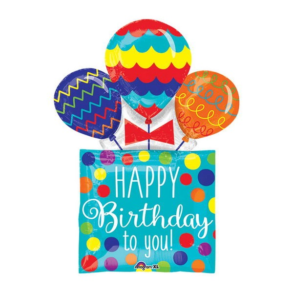 Birthday Balloons - Anagram 32 Inch HBD Present and Balloons