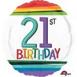 Anagram 18 Inch Rainbow Birthday Age 21st