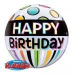 Qualatex 22 inch Birthday Black Band & Dots Bubble Balloon