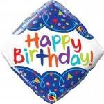 Qualatex 18 Inch Diamond Shape Birthday Scribble Confetti