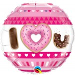 Qualatex 18 Inch I (HEART) U Donuts