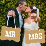Mr Mrs Card Board Ribbon Banner Sign For Wedding