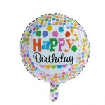 Mytex 18 Inch Happy Birthday Colorful Balloons Dots ~2pcs