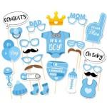 Mytex Baby Boy Party Photo Booth Props Kits ~ 25pcs