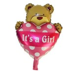 Mytex It is A Girl Mini Bear Foil Balloon ~ 5pcs