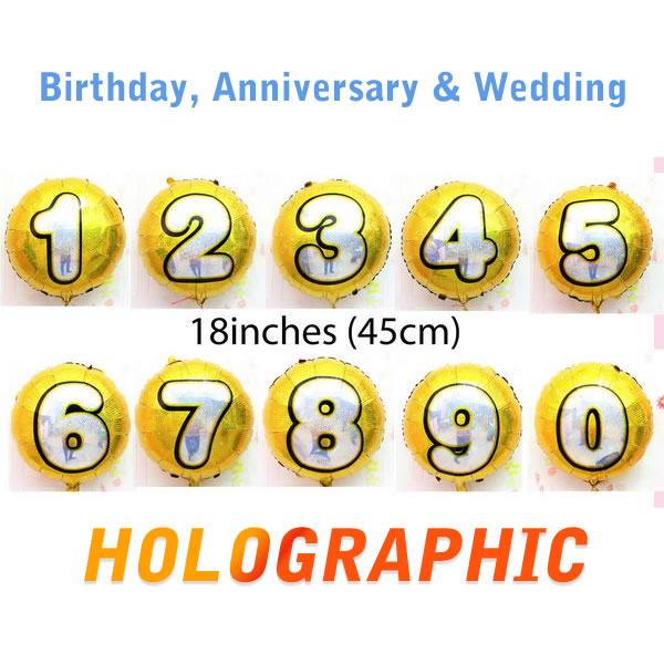 Birthday Balloons - Mytex 18 Inch Holographic Number Gold