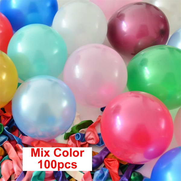 11 Inch Round Balloons - Mix Color 10 & 12 Inch Solid Color Latex Balloon ~ 100pcs