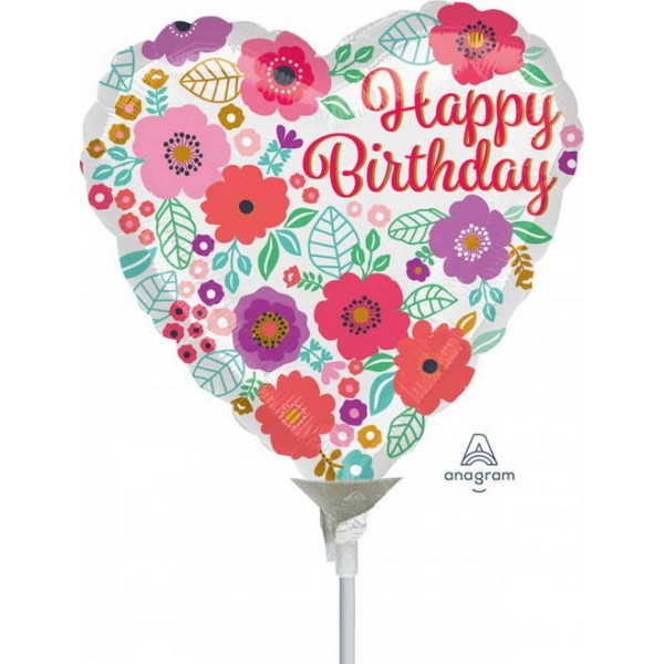 Birthday Balloons - Anagram 9 Inch Happy Birthday Floral Print