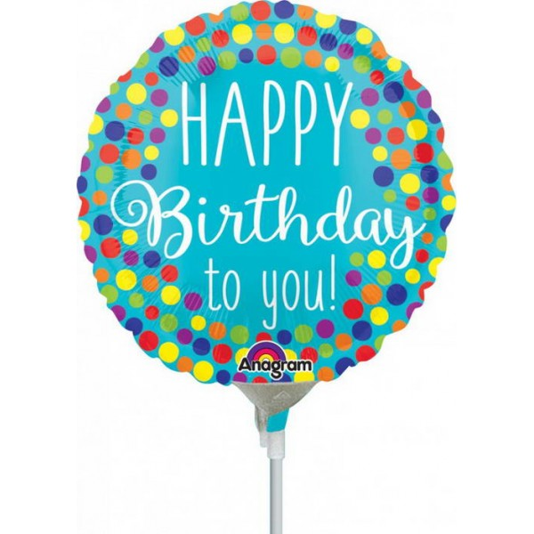 Birthday Balloons - Anagram 9 Inch HBD to You Dots