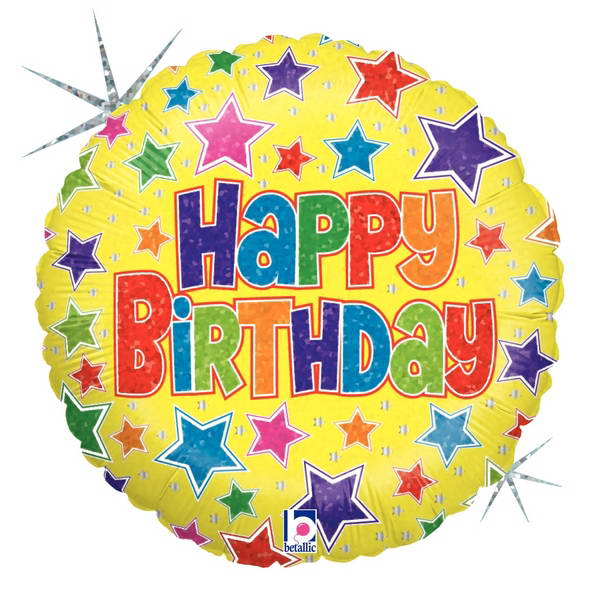 Birthday Balloons - Betallic 9 Inch Bold Stars Birthday