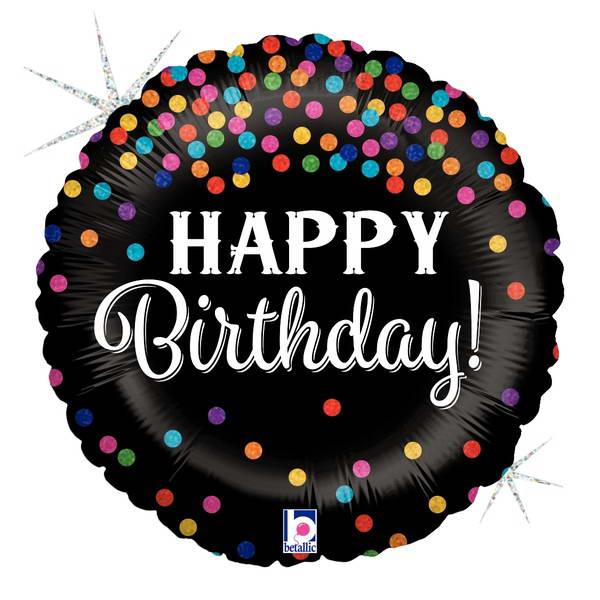 Birthday Balloons - Betallic 9 Inch Glittering Birthday Confetti