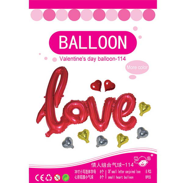 Valentine's Day - 38 Inch Love Script Wording With Hearts Package