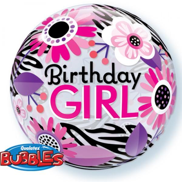 Single Bubbles - Qualatex 22 Inch Birthday Girl Floral Zebra Stripes
