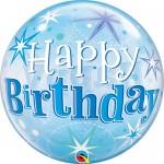 """Qualatex 22"""" Inch Birthday Blue Starburst Sparkle"""