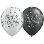 Qualatex 11 Inch Black & Silver Birthday Elegant Sparkles & Swirls ~ 10pcs